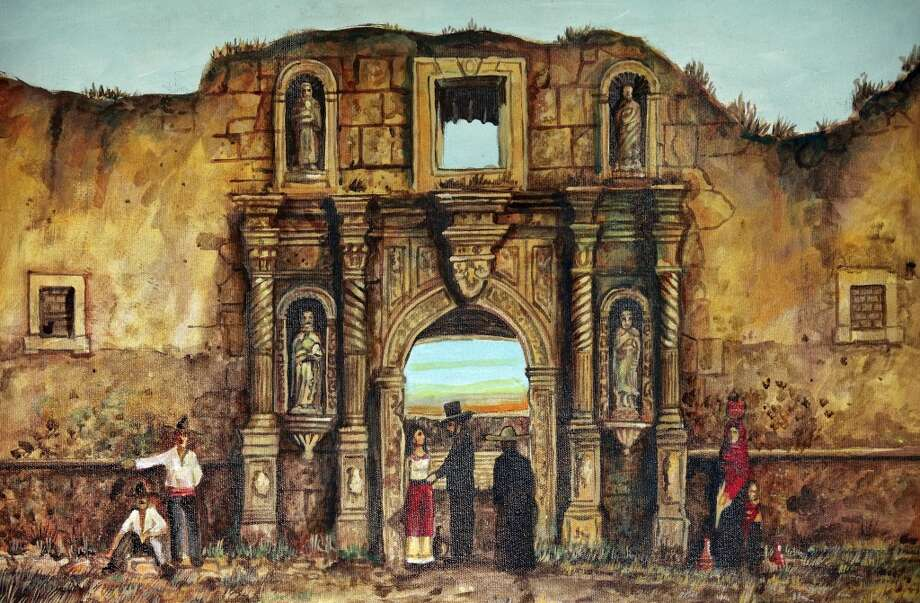 Detail of Alamo painting by Ramon Vasquez y Sanchez Thursday Oct. 25, 2012 at Sarah Reveley's home. (San Antonio Express-News)