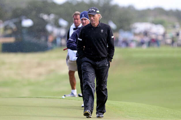 Bernahrd Langer walks up to have a look at his ball on the first green during the 2012 AT&T Championship at the AT&T Canyons course on October 26, 2012. Photo: Tom Reel, Express-News / ©2012 San Antono Express-News