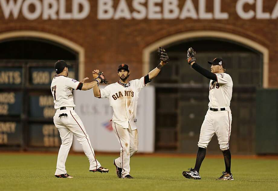 Angel Pagan (center) has sparked the top of the order and solidified the outfield with Gregor Blanco (left) and Hunter Pence. Photo: Michael Macor, The Chronicle