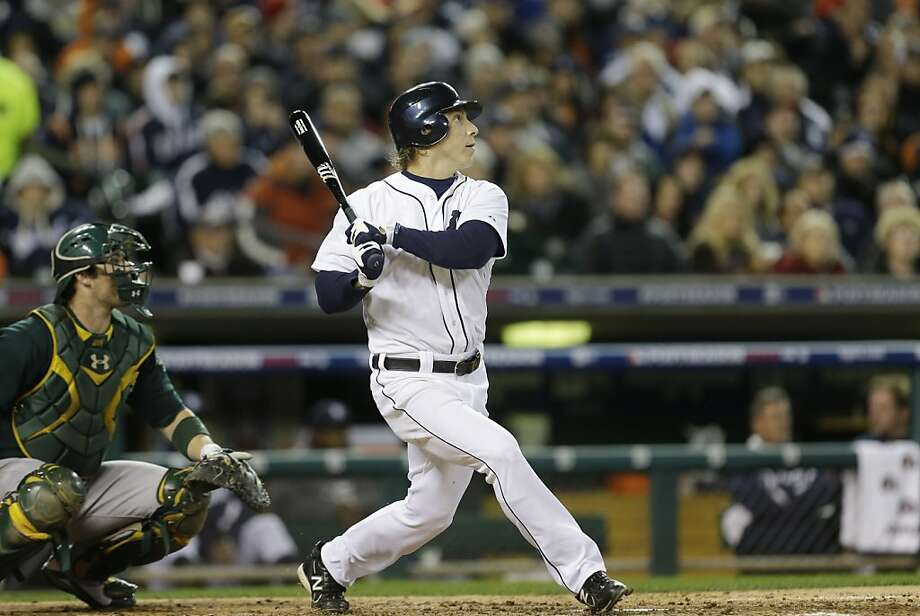 Andy Dirks, a .322 hitter during the regular season and a .294 hitter against the A's in the ALDS, is expected to be in the outfield in Game 3, with Delmon Young at designated hitter. Photo: Paul Sancya, Associated Press