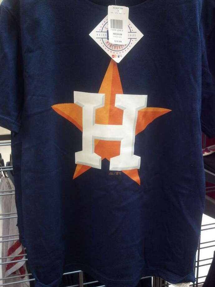 The Astros' new logo, left, as seen on a T-shirt at a local store resembles the one from the 1965-93 era.