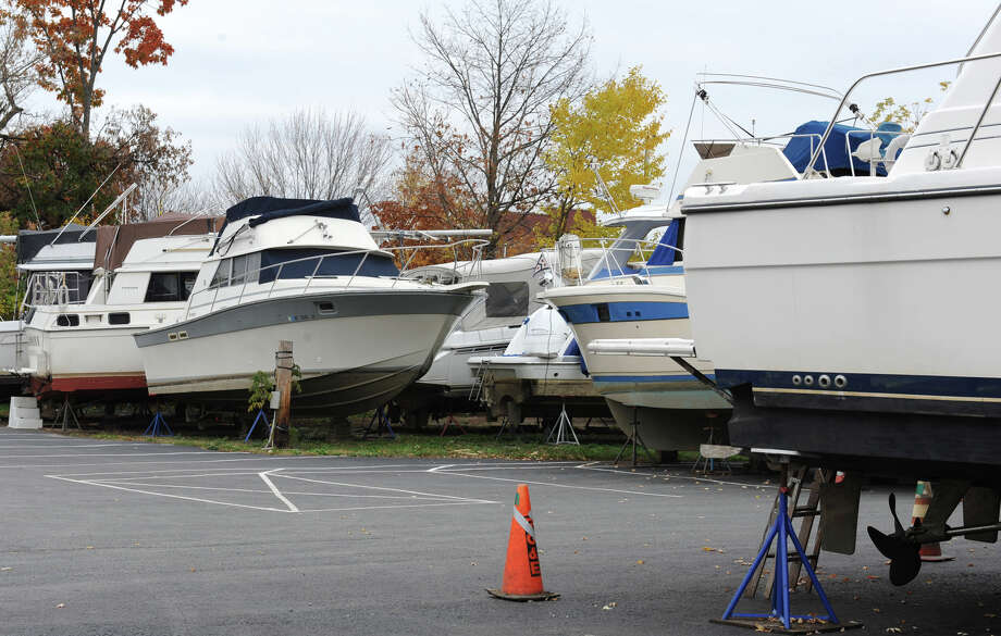 Boats are stored at the Albany Yacht Club on Friday, Oct. 26, 2012 in Rensselaer, N.Y. Boaters taking advantage of warm fall weather who still have their vessels docked should act now to secure them in advance of anticipated high winds and heavy rains from Hurricane Sandy. (Lori Van Buren / Times Union) Photo: Lori Van Buren