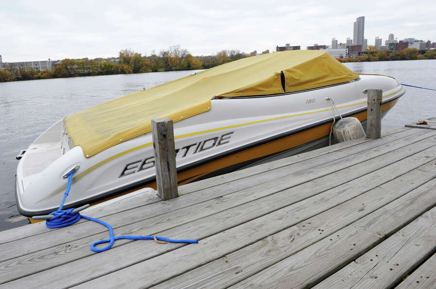 A boat is docked along the Hudson River on Friday, Oct. 26, 2012 in Rensselaer, N.Y. Boaters taking