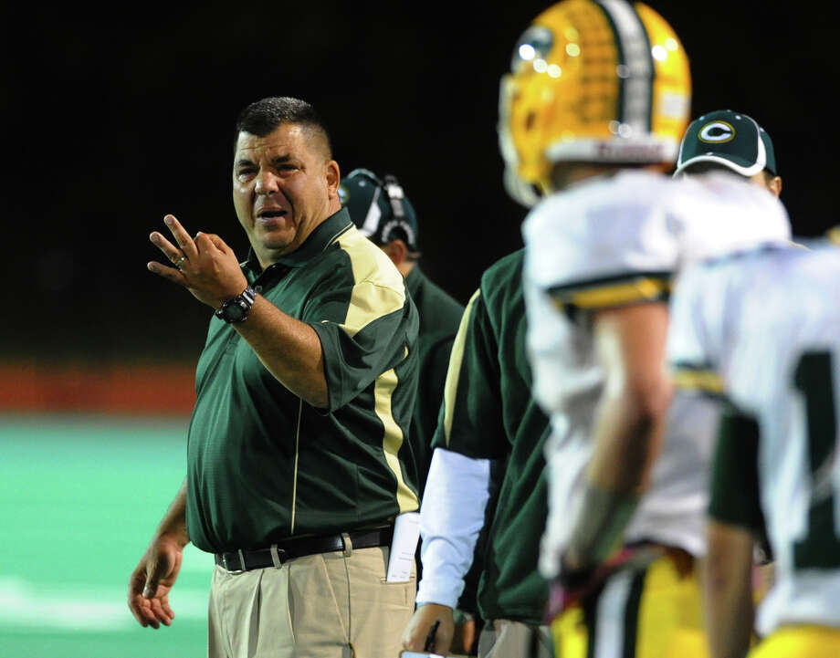 Trinity Catholic Head Coach Pete Stokes during boys football action in Bridgeport, Conn. on Friday October 26, 2012. Photo: Christian Abraham