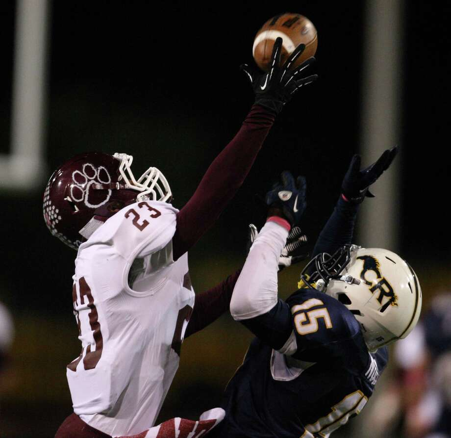 Cy-Fair's Preston Wallace breaks up a pass intended for Cypress Ranch's Randy Noel during the second half of a high school football game, Friday, October 26, 2012 at Berry Center in Cypress, TX. Photo: Eric Christian Smith, For The Chronicle