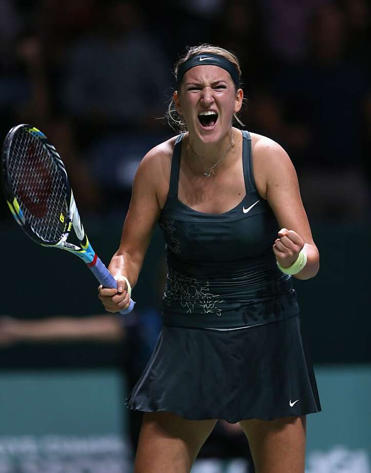 Victoria Azarenka is charged up about reaching the WTA Championships semifinals. Photo: Julian Finney, Getty Images
