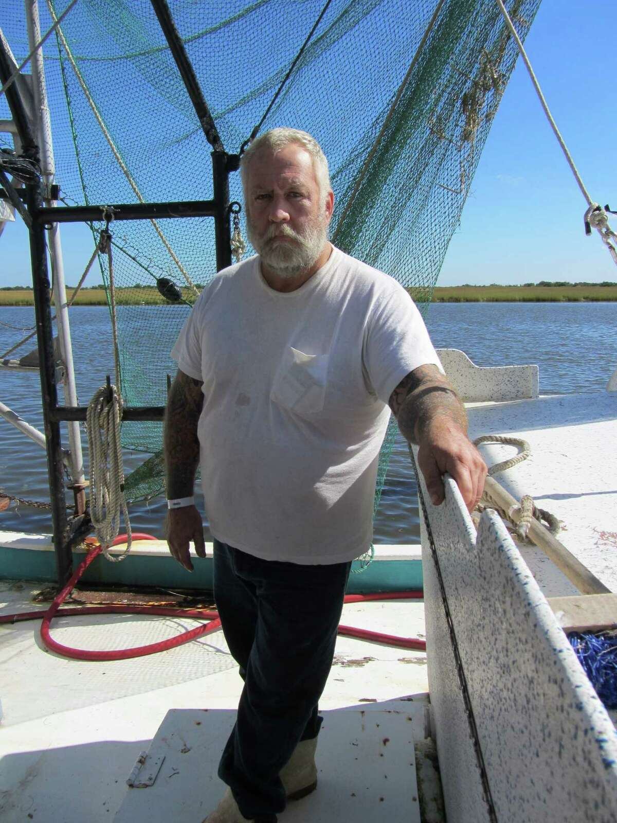 Deckhand Wayne Guidry of Galliano, La., says shrimp caught since the 2010 Gulf of Mexico oil spill often have sores on them.