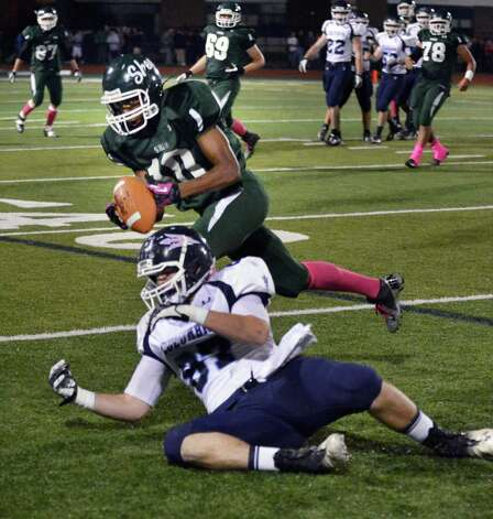 Shenendehowa's #10 Anthony Lee intercepts a pass meant for Columbia's #87 Jacob Fass during Friday night's game in Clifton Park  Oct. 26, 2012.  (John Carl D'Annibale / Times Union) Photo: John Carl D'Annibale / 00019850A
