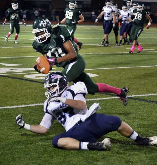Shenendehowa's #10 Anthony Lee intercepts a pass meant for Columbia's #87 Jacob Fass during Friday n