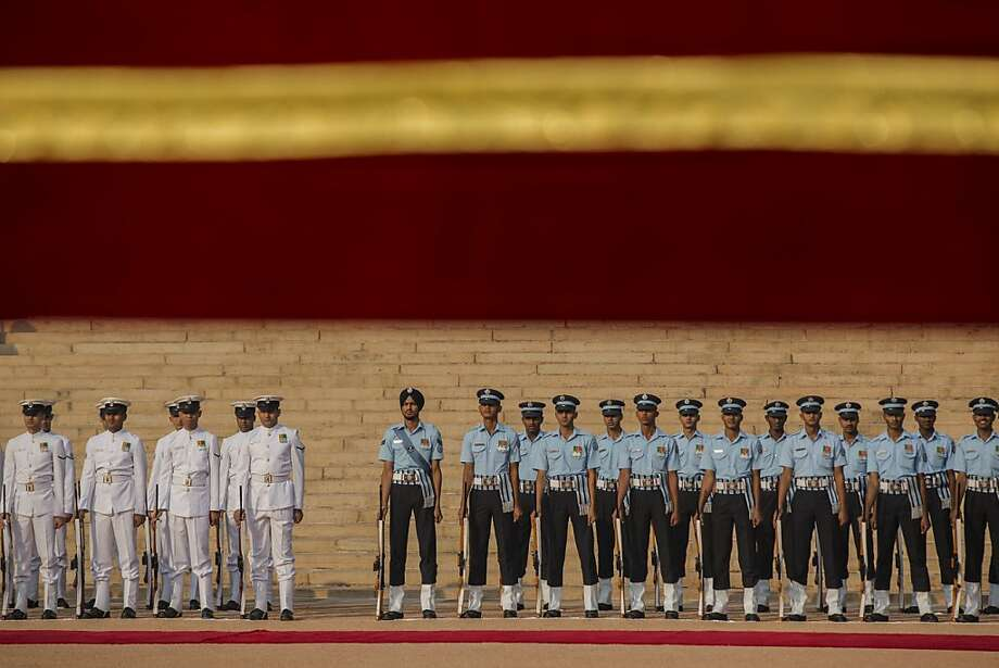 Indian soldiers stand at attention before King Juan Carlos I's inspection during his ceremonial reception at Rashtrapati Bhavan, the Presidential Palace on October 26, 2012 in New Delhi, India. His Majesty is on a State visit to India from 24-27 of October visiting Mumbai and Delhi, and is expected to build upon the relations and trade between the two countries during his visit. India and Spanish bilateral trade last year was worth almost 5 billion USD. Photo: Daniel Berehulak, Getty Images