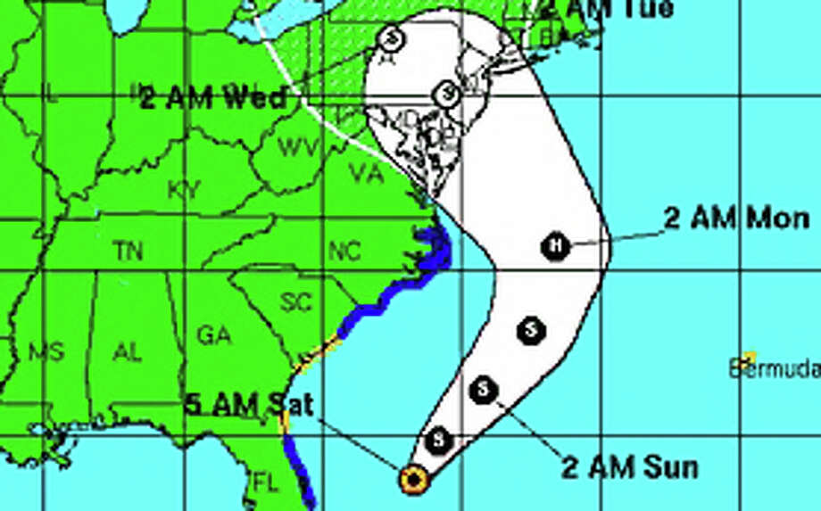 The projected track of Tropical Storm Sandy, as of 5 a.m. Saturday through early Wednesday, as forecast by the National Hurricane Center. Photo: Contributed Photo
