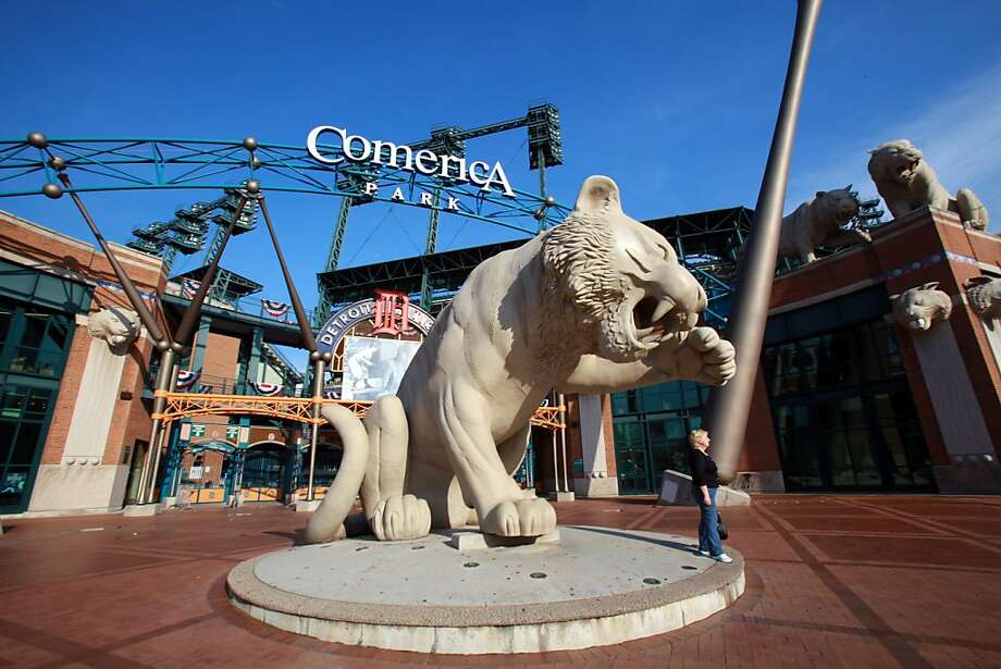 Stone tigers greet fans at Comerica Park, which opened in the same season as AT&T, 2000. Photo: Fabrizio Costantini, Special To The Chronicle