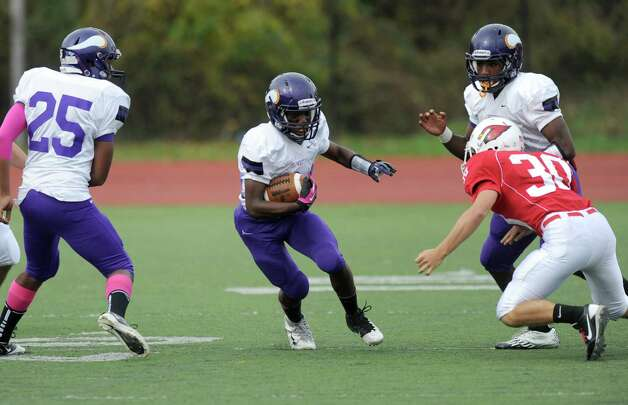 Saturday's football game against Greenwich High School at Westhill High School on October 27, 2012. Photo: Lindsay Niegelberg