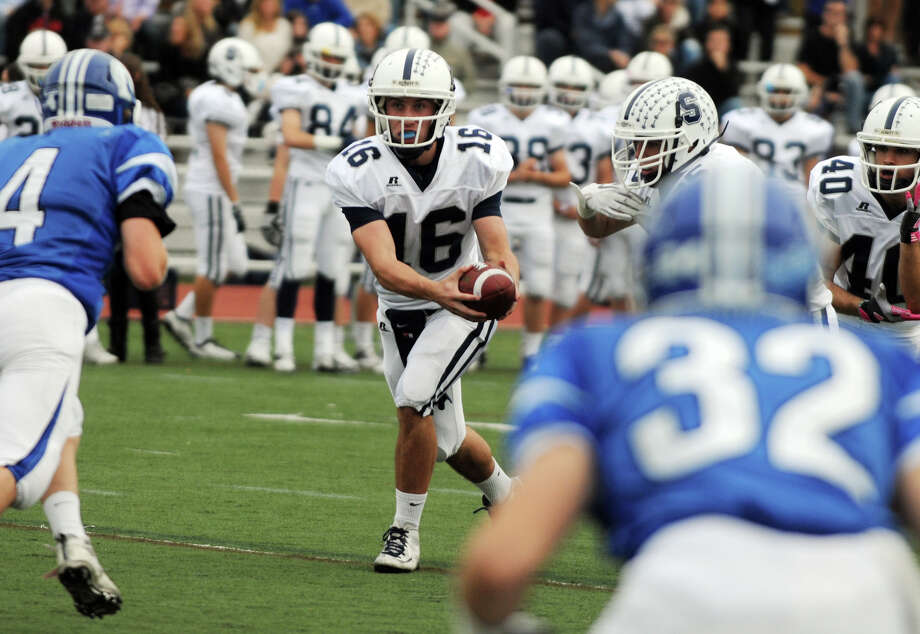 Staples' QB Jack Massie in action as Darien High School hosts Staples in a football game in Darien, Conn., Oct. 27, 2012. Photo: Keelin Daly