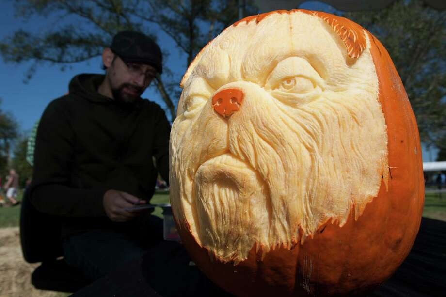 Alfred Paredes of Villafane Studios works on dog pumpkin carvings during the fourth annual Howl-O-Ween Fest 2012 at Bridgeland's Oak Meadow Park in Cypress on Saturday, Oct. 27, 2012, in Houston. Photo: J. Patric Schneider, For The Chronicle / © 2012 Houston Chronicle