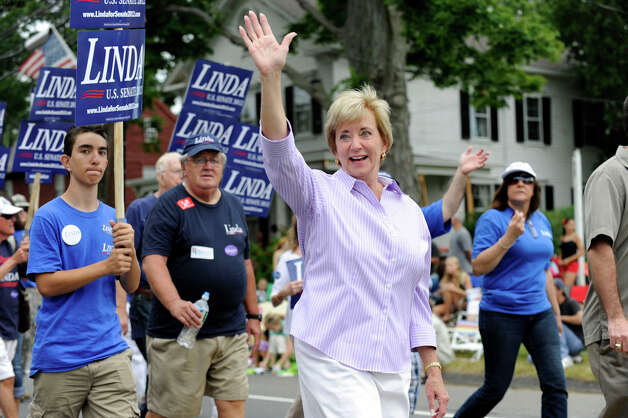 Linda McMahon walks in the Labor Day Parade in Newtown, Conn. Monday, Sept. 3, 2012. Photo: Carol Kaliff