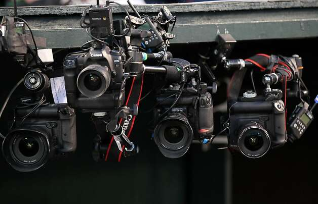 Remote camera wait for the start of game 3 of the world series at Comerica Park in Detroit, Mi., on Saturday, Oct. 27, 2012 Photo: Lance Iversen, The Chronicle