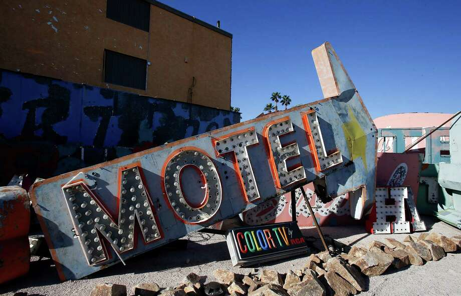 Signs at the Neon Museum's boneyard in Las Vegas, Oct. 24, 2012.  The museum opened on Saturday, Oct. 27, 2012, after more than 15 years of effort. Photo: Isaac Brekken, New York Times / NYTNS