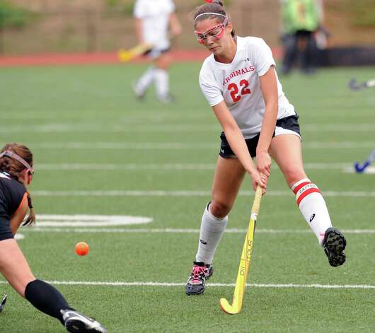 Elizabeth Stillman # 22 of Greenwich during the FCIAC field hockey tournament match between Stamford High School and Greenwich High School at Greenwich, Saturday afternoon, Oct. 27, 2012. Photo: Bob Luckey / Greenwich Time