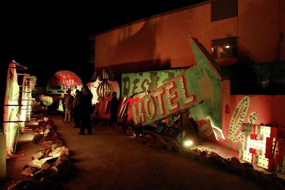 In this Oct. 23, 2012 photo, signs from Las Vegas's past are seen during the grand opening of the Neon Museum in Las Vegas. Photo: Sam Morris, Associated Press / Las Vegas Sun