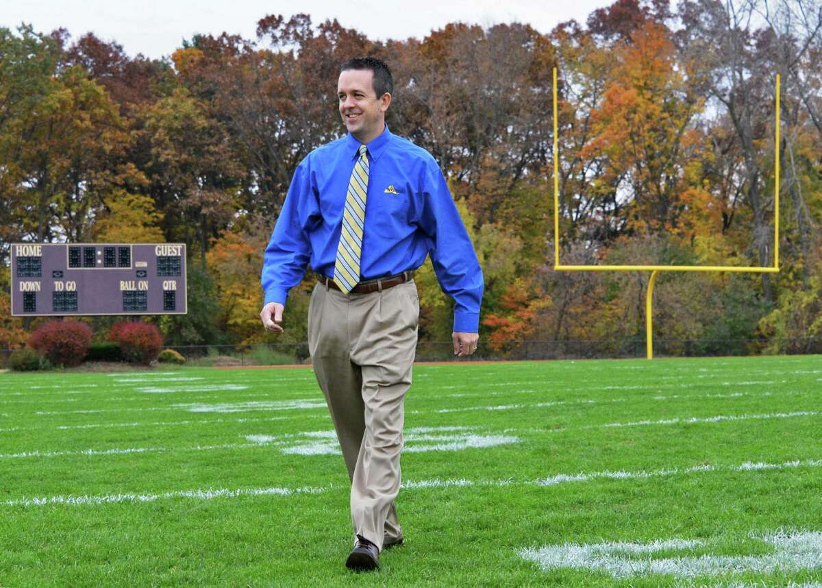 Robert Zayas, the new executive director of the New York State Public High School Athletic Association on the Colonie High football field Thursday Oct. 25, 2012. (John Carl D'Annibale / Times Union)