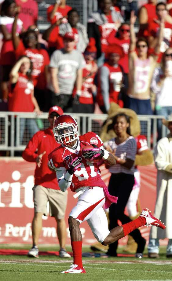 Houston wide receiver Larry McDuffey (81) gets behind the UTEP defense for a touchdown during the second quarter of a NCAA football game, Saturday, Oct. 27, 2012, in Robertson Stadium in Houston.  ( Nick de la Torre / Houston Chronicle ) \ Photo: Nick De La Torre, Houston Chronicle / Houston Chronicle