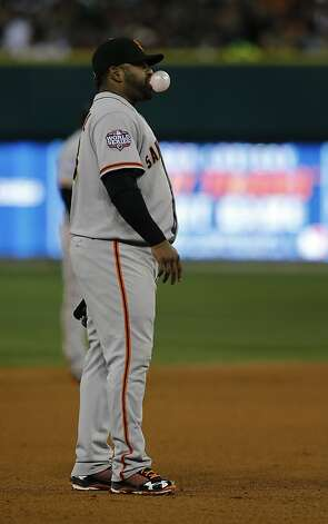 Giants' 3rd baseman Pablo Sandoval blows waits for action in the 1st inning during game 3 of the World Series at Comerica Park on Saturday, Oct. 27, 2012 in Detroit, MI. Photo: Michael Macor, The Chronicle
