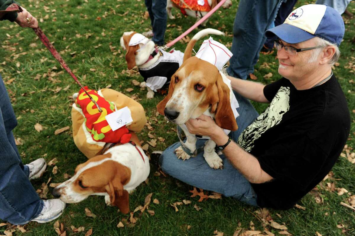 Mike McLean of Colonie, right, sits with his basset hounds Scooter, center, dressed as a hot dog vendor, and Cora, dressed as a hot dog before the costume contest during the Pet Howl-oween Party on Saturday, Oct. 27, 2012, at Riverview Orchards in Rexford, N.Y. (Cindy Schultz / Times Union)