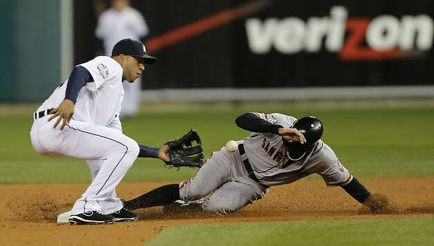 Giants' right fielder Hunter Pence steals 2nd base in the 2nd inning during game 3 of the World Series at Comerica Park on Saturday, Oct. 27, 2012 in Detroit, MI. Photo: Michael Macor, The Chronicle