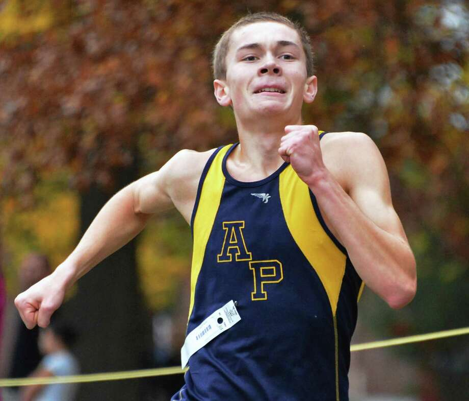 Averill Park's Andrew Tario wins the Section II boys cross country championship at Saratoga Spa State Park Saturday Oct. 27, 2012.  (John Carl D'Annibale / Times Union) Photo: John Carl D'Annibale / 00019792A