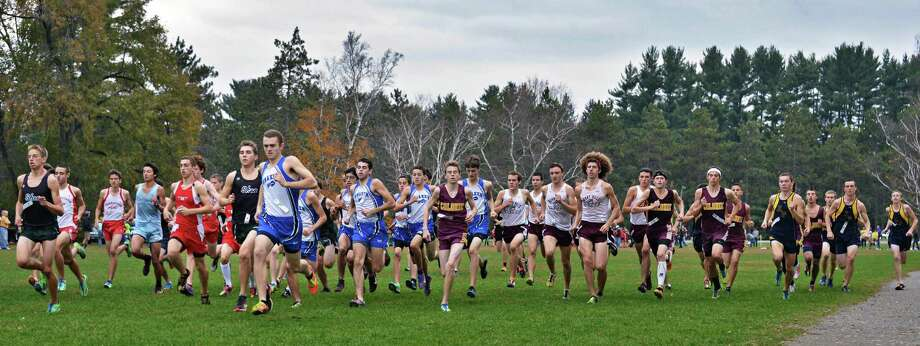 Start of the Section II boys cross country championship at Saratoga Spa State Park Saturday Oct. 27, 2012.  (John Carl D'Annibale / Times Union) Photo: John Carl D'Annibale / 00019792A