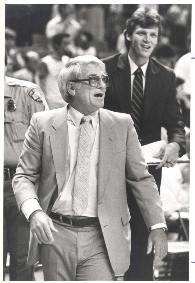 1974: Bob Bass replaces Tom Nissalke as head coach. Despite a slow start, the Spurs win 30 of their final 45 games. More importantly, Bass installs an entertaining, up-tempo offense that helped build the team's popularity.Express-News file photo from 1984 (EXPRESS-NEWS FILE PHOTO)