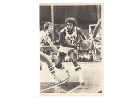 """1975: Having already executed the Gervin blockbuster, Drossos makes what he considers his best deal – sending fan favorite Swen Nater to the Nets for Larry Kenon, Mike Gale and Billy Paultz. Says Bass: """"That's a trade this franchise lived off of for years."""" Express-News file photo of Mike Gale in 1981"""