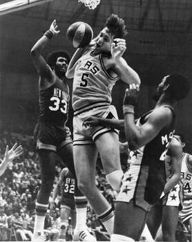 1976: The Spurs, along with the Nets, Pacers and Nuggets, join the NBA as the ABA dissolves. In the space of little more than three years, San Antonio had gone from a high-school football town to member of a major professional sports league. Express-News file photo of Billy Paultz