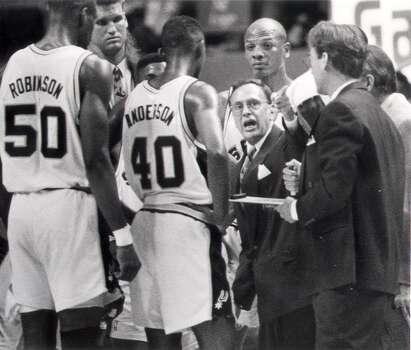 1988: The Spurs hire head coach Larry Brown, who had just led Kansas to the NCAA championship. While he lasted only four years with the Spurs, two of his assistants – Gregg Popovich and R.C. Buford – would have lasting impacts on the franchise. Express-News file photo (EXPRESS-NEWS FILE PHOTO)