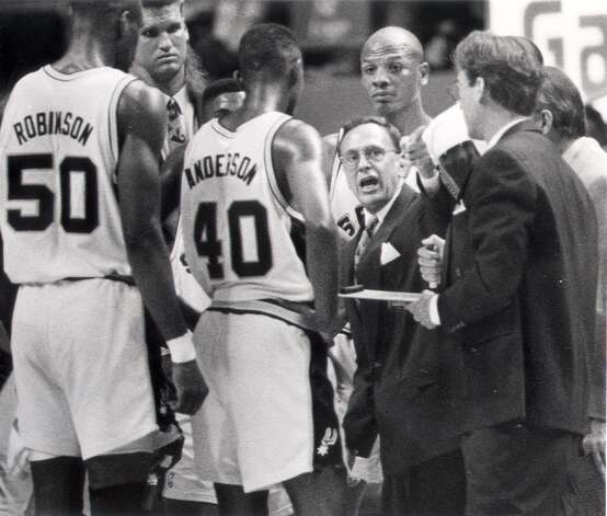 In 1988, the Spurs hired head coach Larry Brown, who had just led Kansas to the NCAA championship. While he lasted only four years with the Spurs, two of his assistants – Gregg Popovich and R.C. Buford – would have lasting impacts on the franchise. Express-News file photo (EXPRESS-NEWS FILE PHOTO)