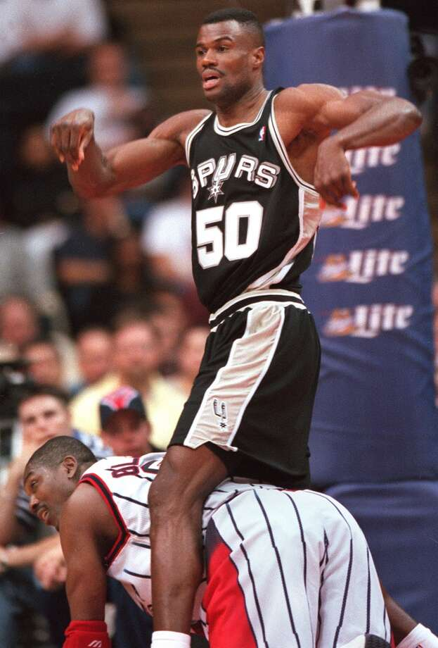 1995: David Robinson averages 27.6 points, 10.8 rebounds and 3.23 blocked shots en route to the MVP award, becoming the first Spur to win the league's top honor. Hakeem Olajuwon registers his displeasure by outplaying Robinson in the Western Conference finals.Edward A. Ornelas/Express-News