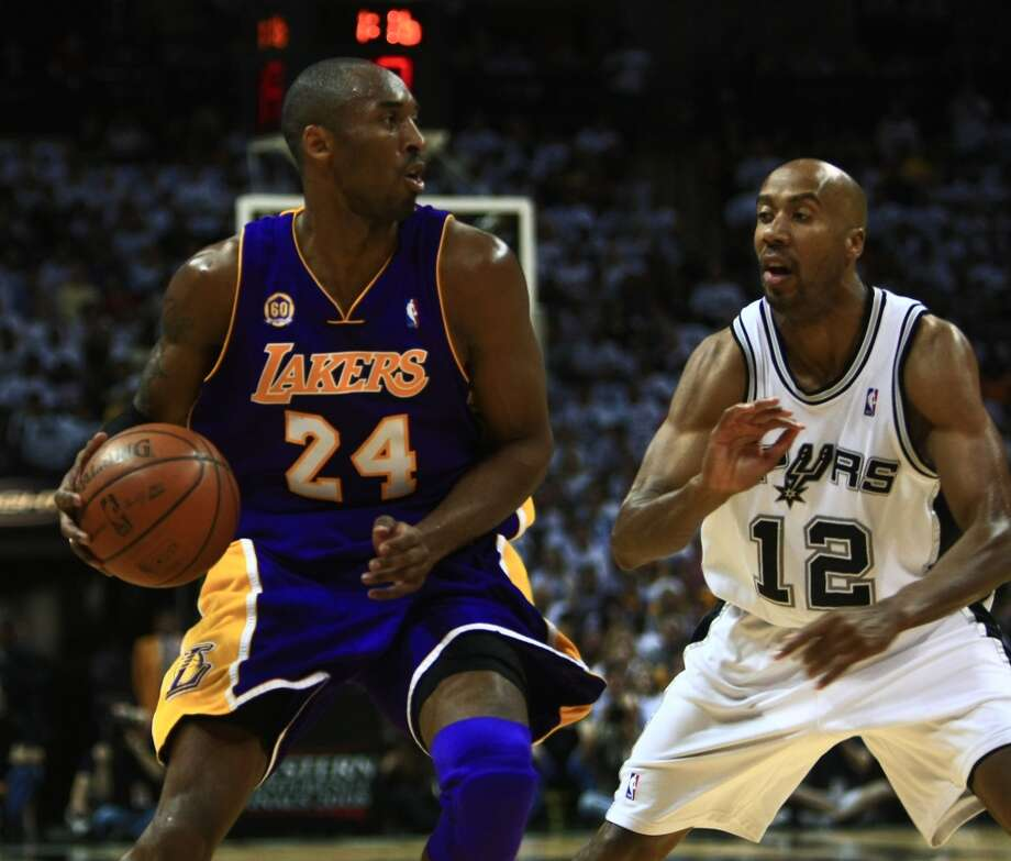 No. 12 Bruce Bowen - Widely regarded as one of the best perimeter defenders in the league. ..... earned first or second All-Defensive team honors from 2001-08. ..... three-time NBA champion. ..... three-point champion in 2002-03 (44.1 percent). ..... Spurs finished third or better in team defensive efficiency in seven of his eight seasons.William Luther/Express-News (SAN ANTONIO EXPRESS-NEWS)