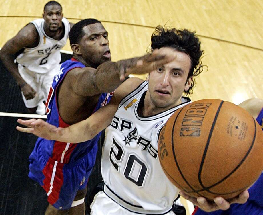 No. 20 Manu Ginobili - Averaging 15.2 points, 4.0 rebounds and 3.9 assists in 10 seasons with the Spurs. ..... 2007-08 Sixth Man of the Year. ..... All-Star in 2005 and 2011. ..... three-time NBA champion. ..... one of only two players to win championships in the NBA and Euroleague along with an Olympic gold medal. ..... beloved for his daredevil playing style. AP file photo
