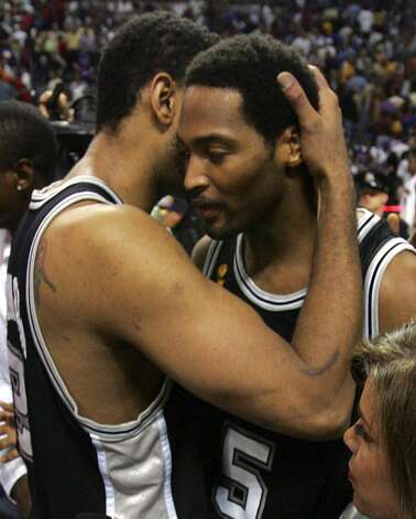 Spurs 110, Los Angeles Lakers 82: 2003 Western Conference semifinals - The Spurs bring a decisive end to the Lakers' three-year reign as champions, a loss that leaves Kobe Bryant in tears. Express-News file photo (SAN ANTONIO EXPRESS-NEWS)