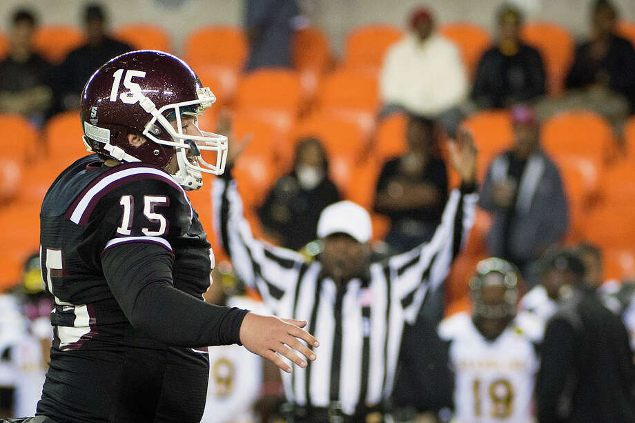 Texas Southern kicker Robert Hersh celebrates after kicking a 31-yard field goal to give TSU a 23-20 advantage during the fourth quarter. Photo: Smiley N. Pool, Houston Chronicle / © 2012  Houston Chronicle