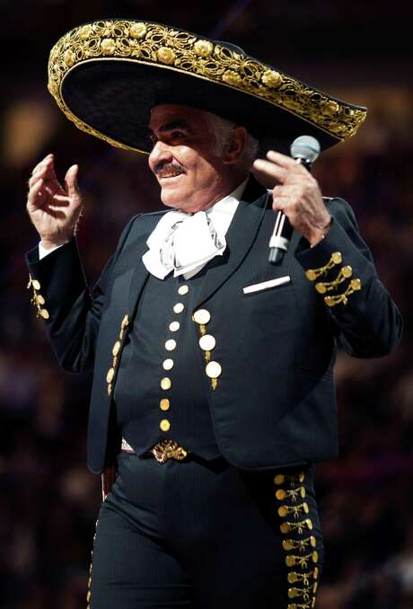 Vicente Fernandez wore his signature charro outfit for his final performance in Houston. Photo: J. Patric Schneider, Freelance / Houston Chronicle