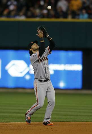 Giants' shortstop Brandon Crawford catches Miguel Cabrera's popup in the 5th inning during game 3 of the World Series at Comerica Park on Saturday, Oct. 27, 2012 in Detroit, MI. Photo: Michael Macor, The Chronicle