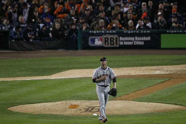 Giants' pitcher Ryan Vogelsong walks off the mound after striking out Prince Fielder in the 4th inning during the World Series game 3 at Comerica Park in Detroit, MI, on Saturday, Oct. 27, 2012. Photo: Carlos Avila Gonzalez, The Chronicle