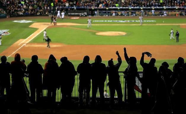 Detroit Tigers fans cheer during Game Three of the Major League Baseball World Series between the San Francisco Giants and the Detroit Tigers at Comerica Park on October 27, 2012 in Detroit, Michigan. Photo: Doug Pensinger, Getty Images