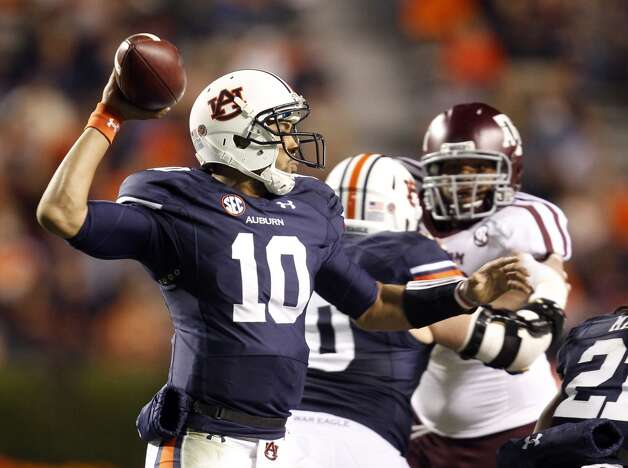 Auburn quarterback Kiehl Frazier (10) throws a pass against Texas A&M during the second half of an NCAA college football game on Saturday, Oct. 27, 2012, in Auburn, Ala. Texas A&M defeated Auburn 63-21. (AP Photo/Butch Dill) (Associated Press)