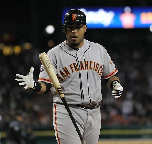 Giants' catcher Hector Sanchez reacts after striking out in the 4th and stranding Hunter Pence on base during game 3 of the World Series at Comerica Park on Saturday, Oct. 27, 2012 in Detroit, MI. Photo: Lance Iversen, The Chronicle