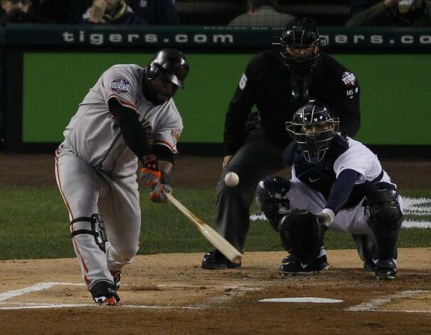 Giants' 3rd baseman Pablo Sandoval singles in the 1st inning during the World Series game 3 at Comerica Park in Detroit, MI, on Saturday, Oct. 27, 2012. Photo: Carlos Avila Gonzalez, The Chronicle