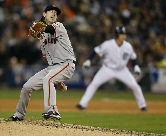 Giants' pitcher Tim Lincecum throws in the 6th inning during game 3 of the World Series at Comerica Park on Saturday, Oct. 27, 2012 in Detroit, MI. Photo: Michael Macor, The Chronicle