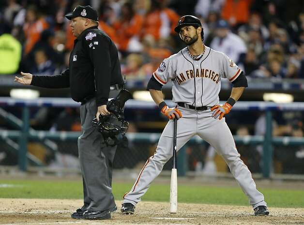 Giants' center fielder Angel Pagan looks at homeplate umpire Fieldin Culbreth after being called out on strikes in the 7th inning during game 3 of the World Series at Comerica Park on Saturday, Oct. 27, 2012 in Detroit, MI. Photo: Michael Macor, The Chronicle